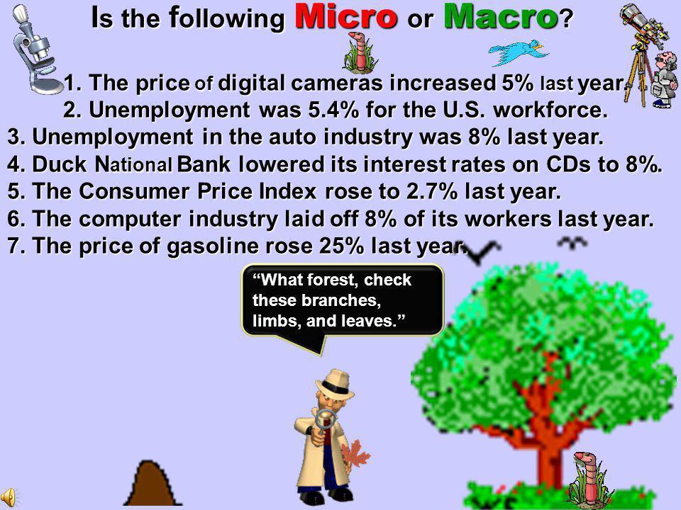 Macro Micro Macro [large ](telescope) whole economy [economy-wide issues] Micro [ small ]( microscope ] segment of the economy [issues in the economy].