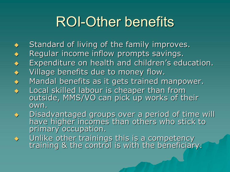 ROI-Other benefits Standard of living of the family improves.