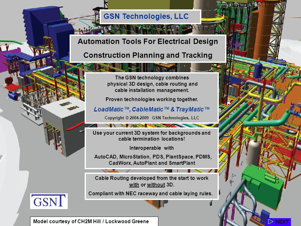 The GSN technology combines physical 3D design, cable routing and cable installation management. Proven technologies working together. LoadMatic, Cabl