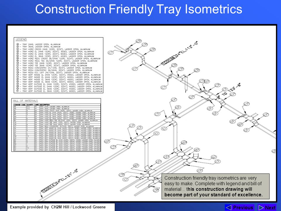 Construction Friendly Tray Isometrics Construction friendly tray isometrics are very easy to make. Complete with legend and bill of material.. this co