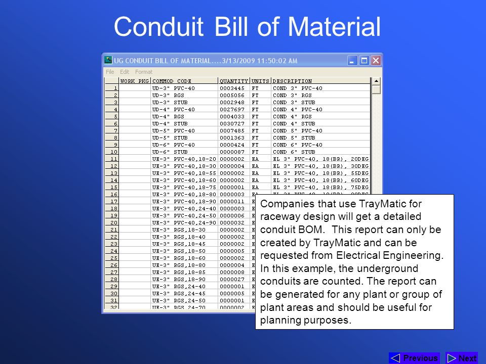Conduit Bill of Material Companies that use TrayMatic for raceway design will get a detailed conduit BOM. This report can only be created by TrayMatic