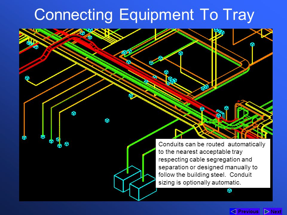 Connecting Equipment To Tray Conduits can be routed automatically to the nearest acceptable tray respecting cable segregation and separation or design