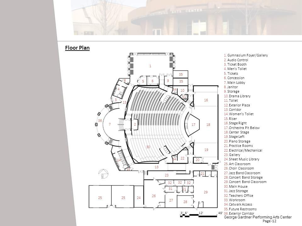 Gymnasium Foyer/Gallery Audio Control Ticket Booth Mens Toilet Tickets Concession Main Lobby Janitor Storage Drama Library Toilet Exterior Plaza Corri