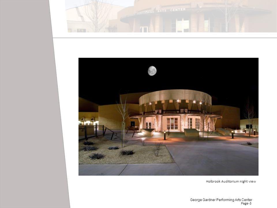 Page-3 Holbrook Auditorium night view George Gardner Performing Arts Center