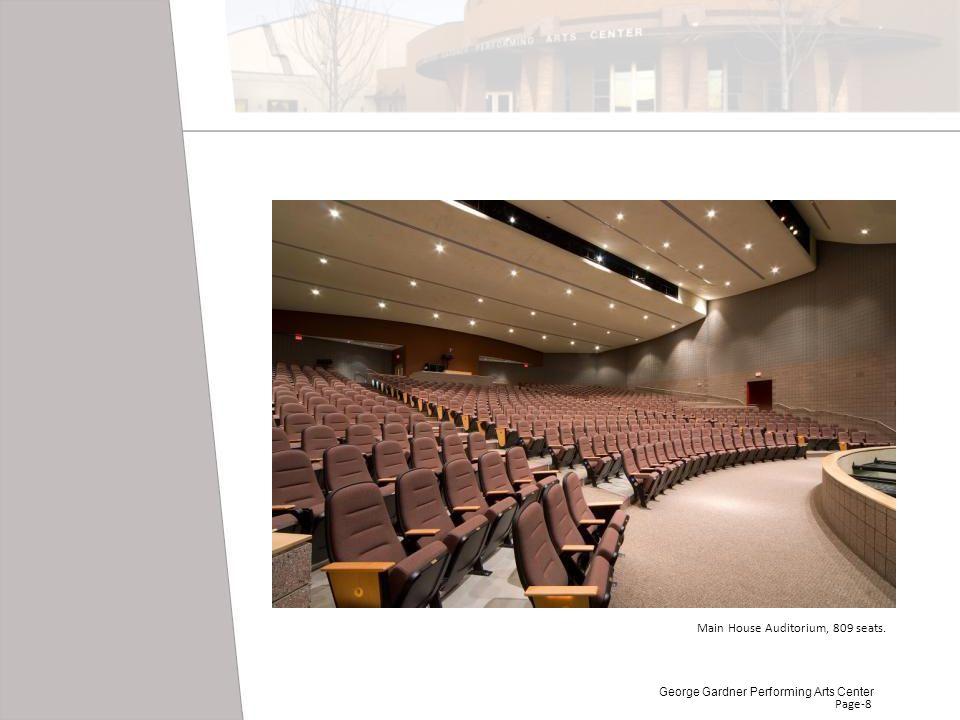 Page-8 Main House Auditorium, 809 seats. George Gardner Performing Arts Center