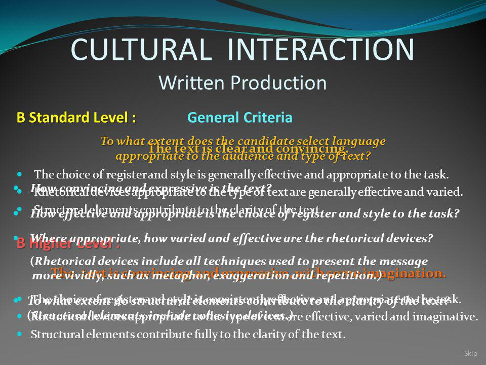 CULTURAL INTERACTION Written Production The text is clear and convincing.