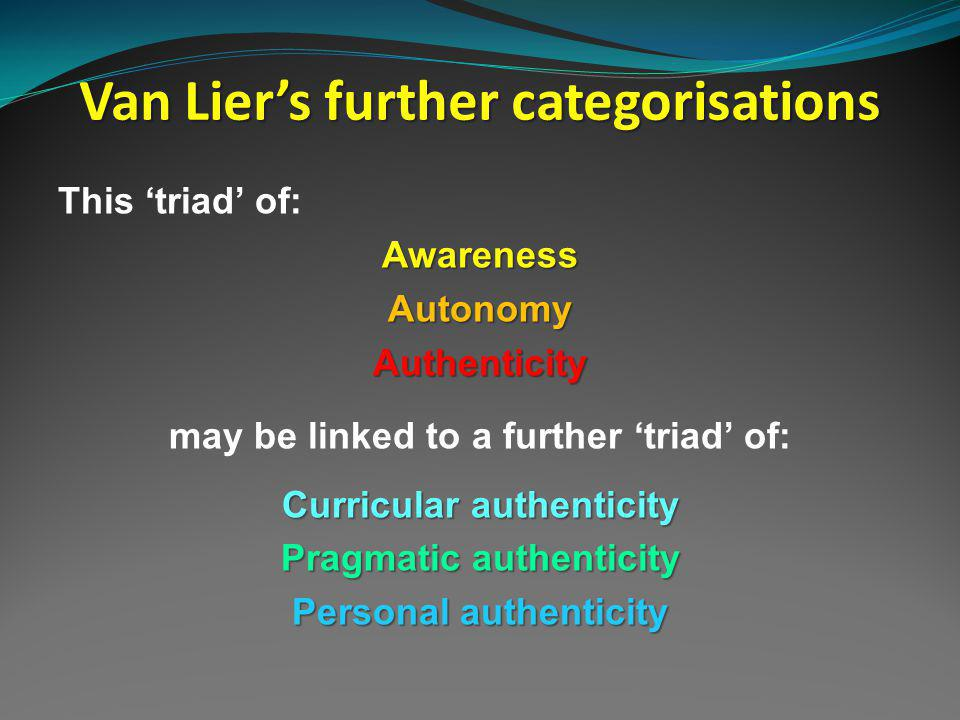 Van Liers further categorisations This triad of:AwarenessAutonomyAuthenticity may be linked to a further triad of: Curricular authenticity Pragmatic authenticity Personal authenticity