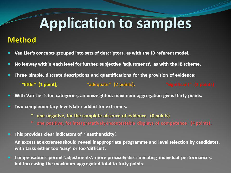 Application to samples Method Van Liers concepts grouped into sets of descriptors, as with the IB referent model.