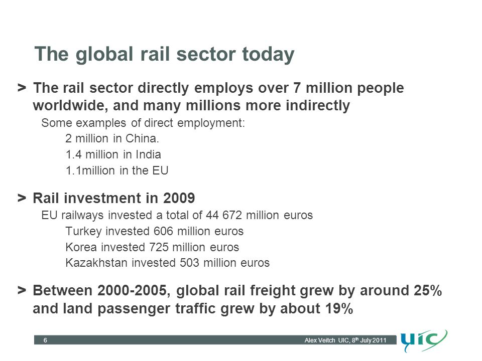 The global rail sector today > The rail sector directly employs over 7 million people worldwide, and many millions more indirectly Some examples of di