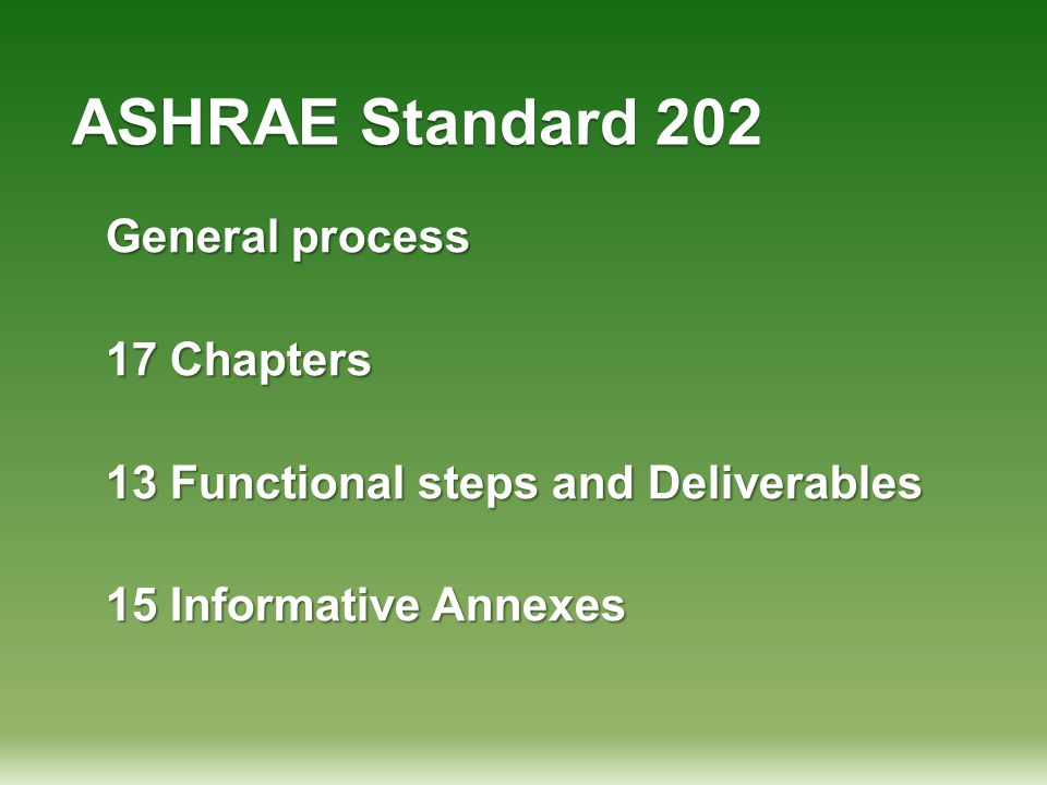 ASHRAE Standard 202 General process 17 Chapters 13 Functional steps and Deliverables 15 Informative Annexes