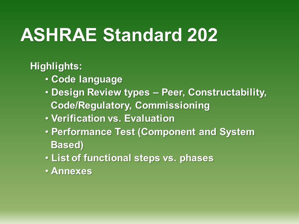 ASHRAE Standard 202 Highlights: Code language Code language Design Review types – Peer, Constructability, Design Review types – Peer, Constructability