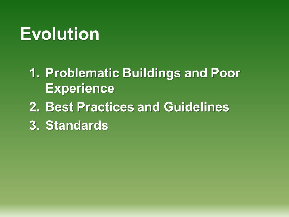 Evolution 1.Problematic Buildings and Poor Experience 2.Best Practices and Guidelines 3.Standards