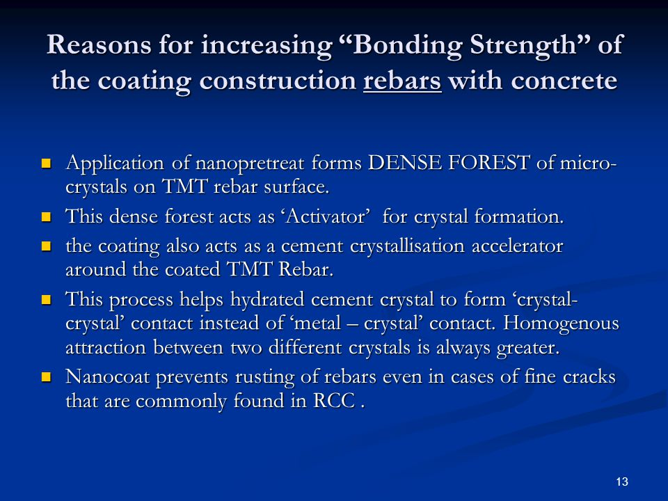 13 Reasons for increasing Bonding Strength of the coating construction rebars with concrete Application of nanopretreat forms DENSE FOREST of micro- c
