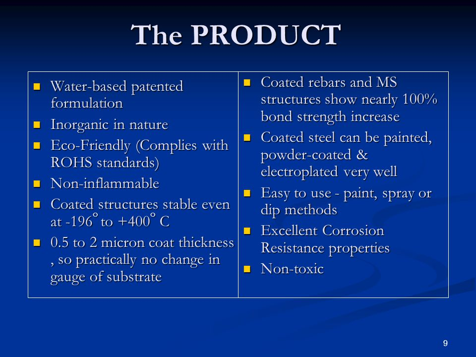 10 PROTECTS STEEL : nanopretreat prevents corrosion in 3 ways:- Stops Formation of free Fe 2+ & Fe 3+ ions by formation of insoluble micro crystals all over the surface.