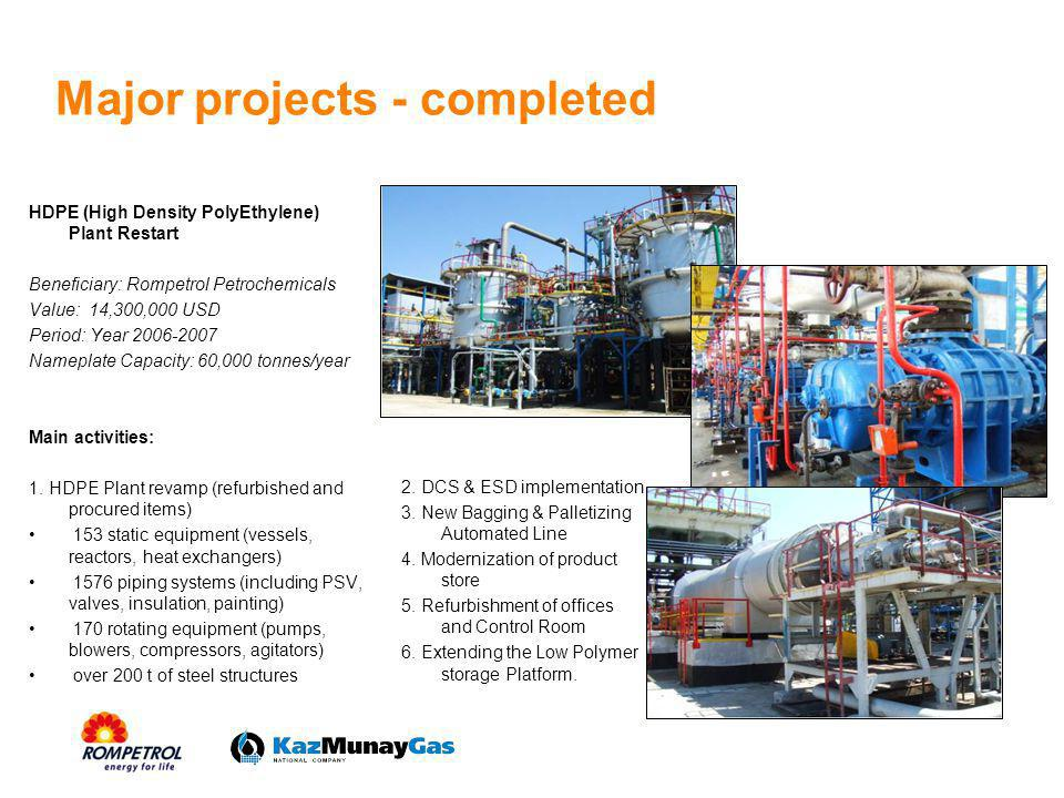 Major projects - completed HDPE (High Density PolyEthylene) Plant Restart Beneficiary: Rompetrol Petrochemicals Value: 14,300,000 USD Period: Year 200