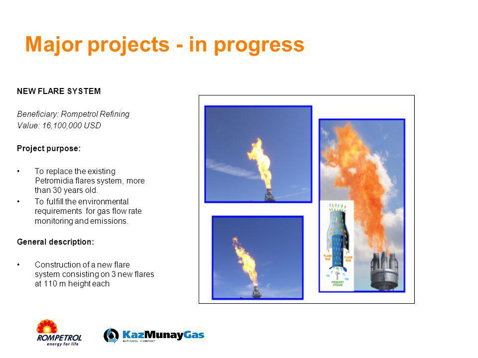 NEW FLARE SYSTEM Beneficiary: Rompetrol Refining Value: 16,100,000 USD Project purpose: To replace the existing Petromidia flares system, more than 30