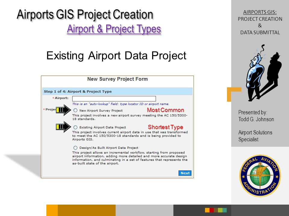 Airports GIS Project Creation Airport & Project Types Airports GIS Project Creation Airport & Project Types Shortest Type Most Common AIRPORTS GIS: PROJECT CREATION & DATA SUBMITTAL Presented by: Todd G.