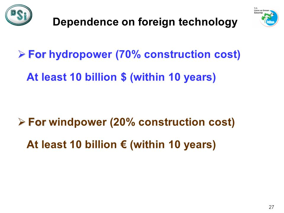 27 For For hydropower (70% construction cost) At least 10 billion $ (within 10 years) For For windpower (20% construction cost) At least 10 billion (within 10 years) Dependence on foreign technology