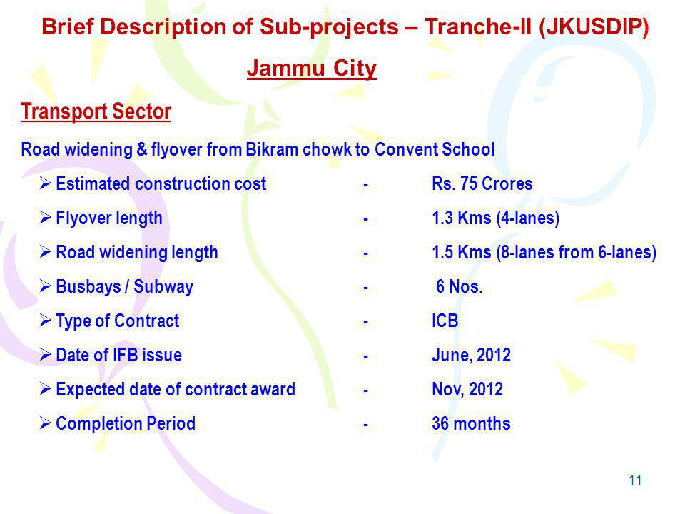 11 Transport Sector Road widening & flyover from Bikram chowk to Convent School Estimated construction cost-Rs.