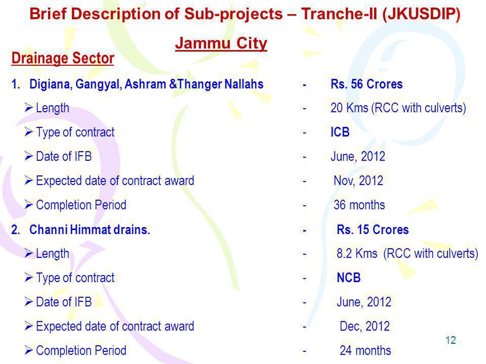 12 Drainage Sector 1.Digiana, Gangyal, Ashram &Thanger Nallahs- Rs.