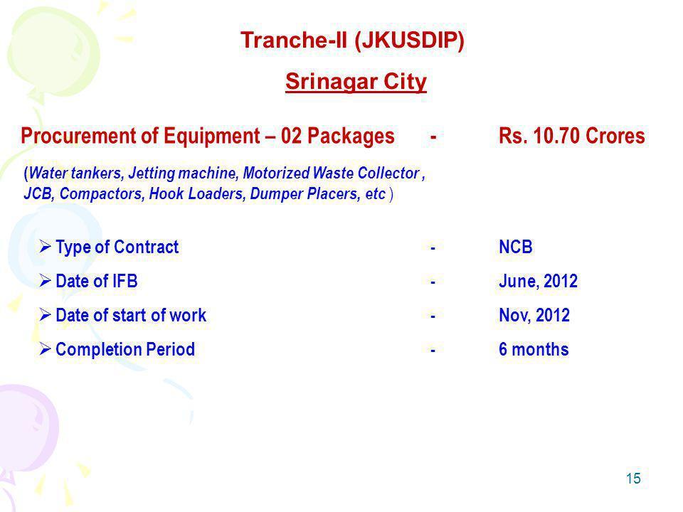 15 Tranche-II (JKUSDIP) Srinagar City Procurement of Equipment – 02 Packages-Rs.
