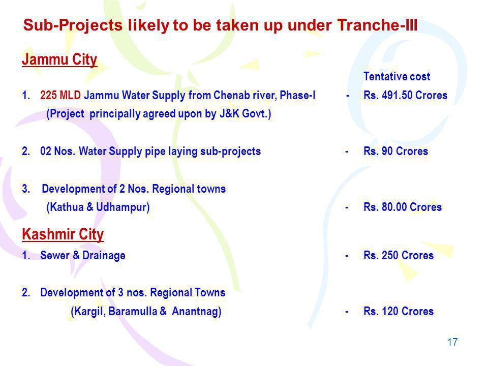 17 Jammu City Tentative cost 1.225 MLD Jammu Water Supply from Chenab river, Phase-I -Rs.