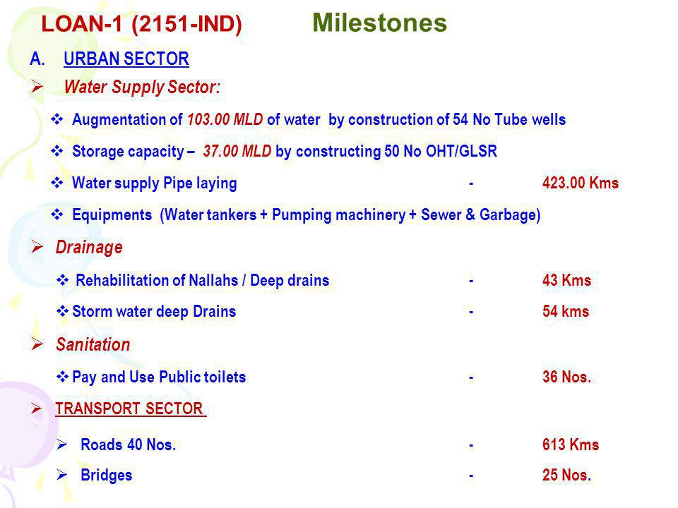 A.URBAN SECTOR Water Supply Sector: Augmentation of 103.00 MLD of water by construction of 54 No Tube wells Storage capacity – 37.00 MLD by constructing 50 No OHT/GLSR Water supply Pipe laying -423.00 Kms Equipments (Water tankers + Pumping machinery + Sewer & Garbage) Drainage Rehabilitation of Nallahs / Deep drains -43 Kms Storm water deep Drains-54 kms Sanitation Pay and Use Public toilets -36 Nos.