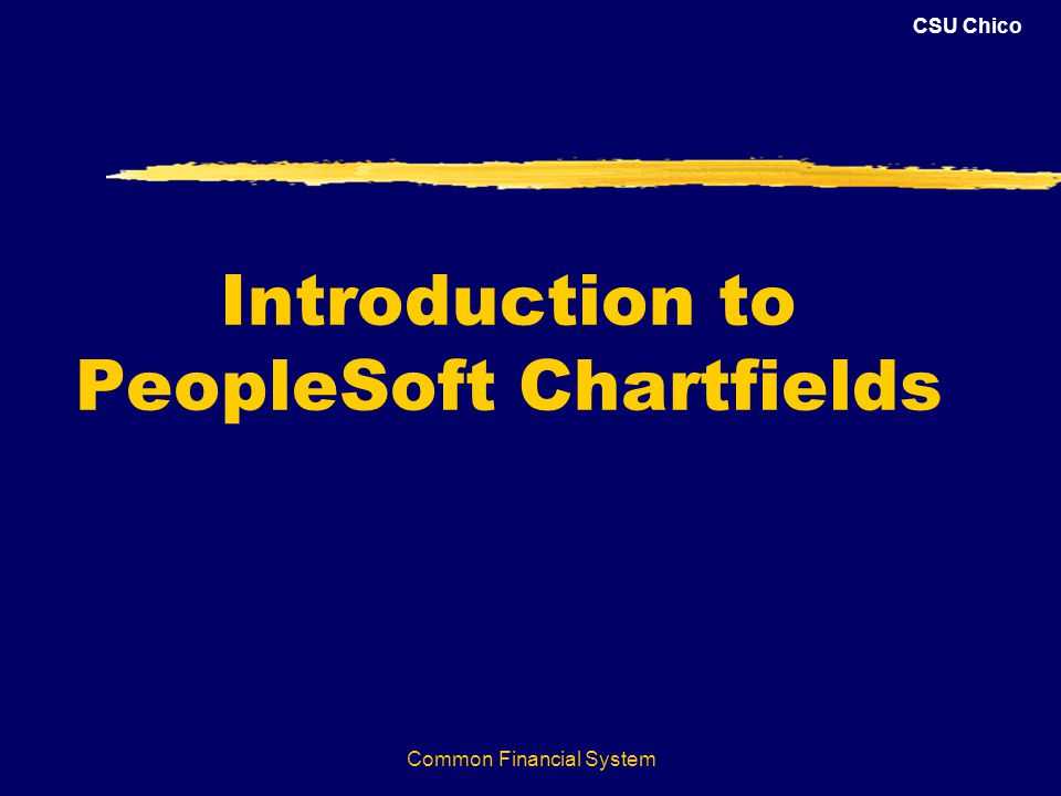 CSU Chico Common Financial System Introduction to PeopleSoft Chartfields