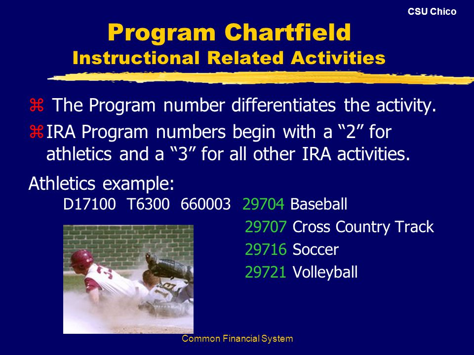 CSU Chico Common Financial System Program Chartfield Instructional Related Activities z The Program number differentiates the activity.