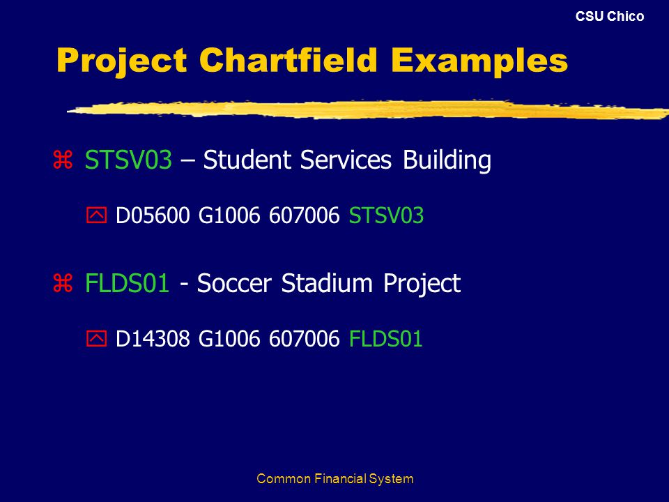 CSU Chico Common Financial System Project Chartfield Examples z STSV03 – Student Services Building y D05600 G1006 607006 STSV03 z FLDS01 - Soccer Stadium Project y D14308 G1006 607006 FLDS01