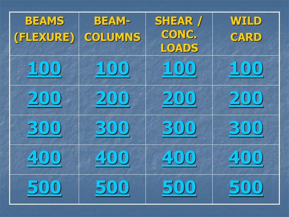 BEAMS(FLEXURE)BEAM-COLUMNS SHEAR / CONC. LOADS WILDCARD 100 200 300 400 500