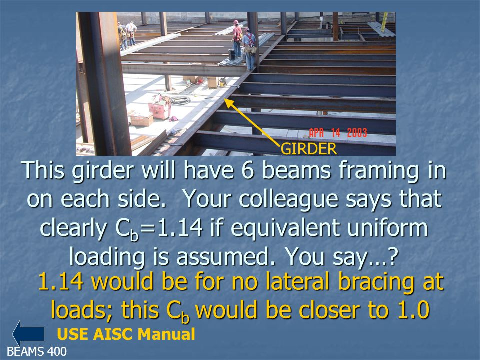 This girder will have 6 beams framing in on each side. Your colleague says that clearly C b =1.14 if equivalent uniform loading is assumed. You say…?
