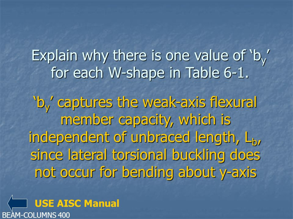 Explain why there is one value of b y for each W-shape in Table 6-1. b y captures the weak-axis flexural member capacity, which is independent of unbr