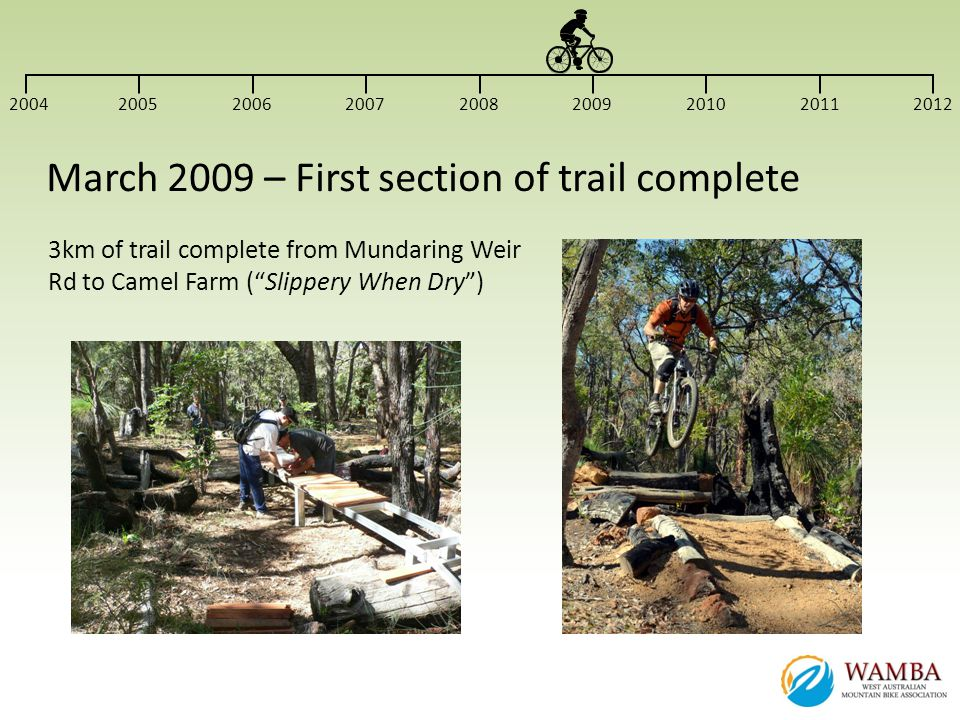3km of trail complete from Mundaring Weir Rd to Camel Farm (Slippery When Dry) 200420052006200720082009201020112012 March 2009 – First section of trai