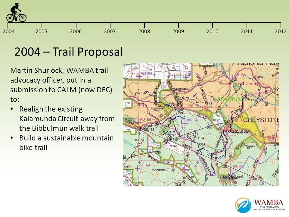 Martin Shurlock, WAMBA trail advocacy officer, put in a submission to CALM (now DEC) to: Realign the existing Kalamunda Circuit away from the Bibbulmu