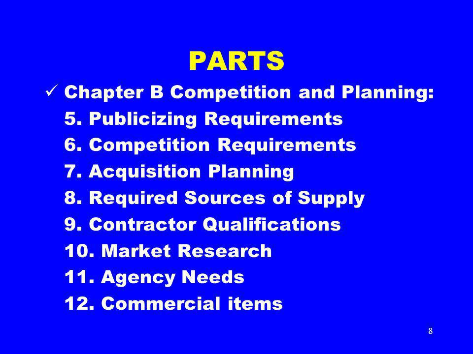 8 PARTS Chapter B Competition and Planning: 5. Publicizing Requirements 6. Competition Requirements 7. Acquisition Planning 8. Required Sources of Sup