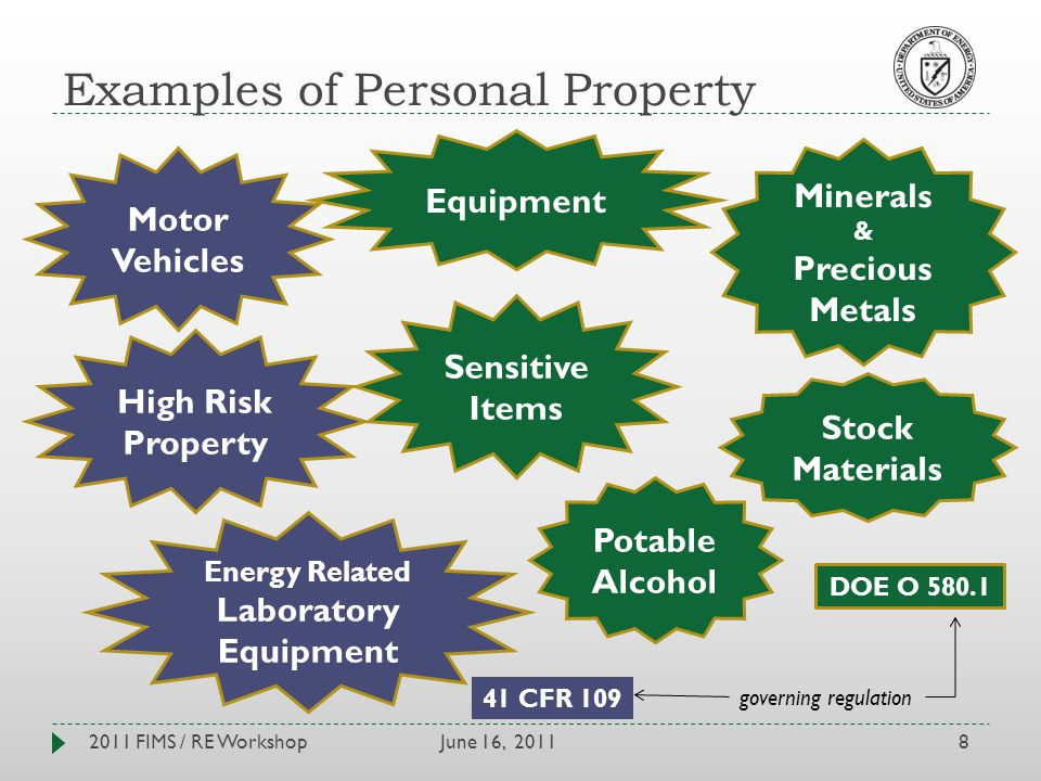 Examples of Personal Property June 16, 20112011 FIMS / RE Workshop8 Motor Vehicles Equipment Sensitive Items Minerals & Precious Metals Stock Materials Potable Alcohol High Risk Property Energy Related Laboratory Equipment 41 CFR 109 DOE O 580.1 governing regulation