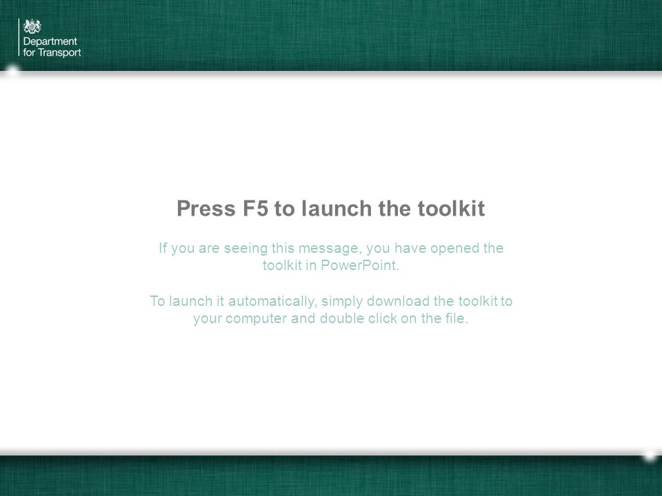 Economic Insights Toolkit Press F5 to launch the toolkit If you are seeing this message, you have opened the toolkit in PowerPoint. To launch it autom