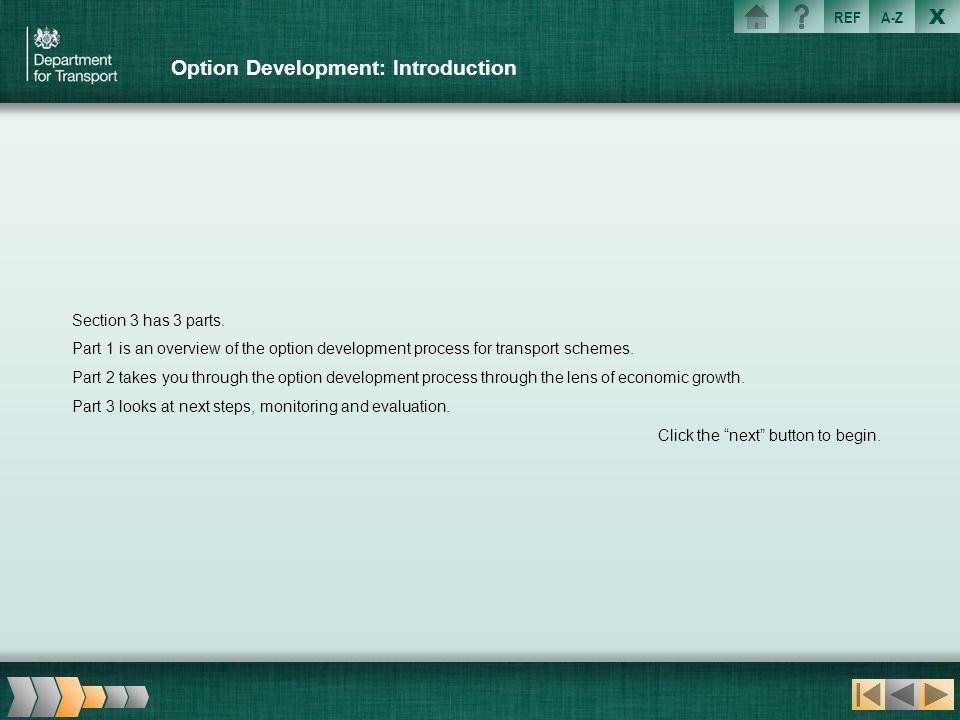 X REFA-Z Option Development: Introduction Section 3 has 3 parts. Part 1 is an overview of the option development process for transport schemes. Part 2