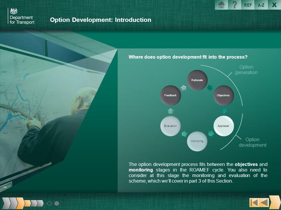 X REFA-Z Option Development: Introduction Where does option development fit into the process? The option development process fits between the objectiv