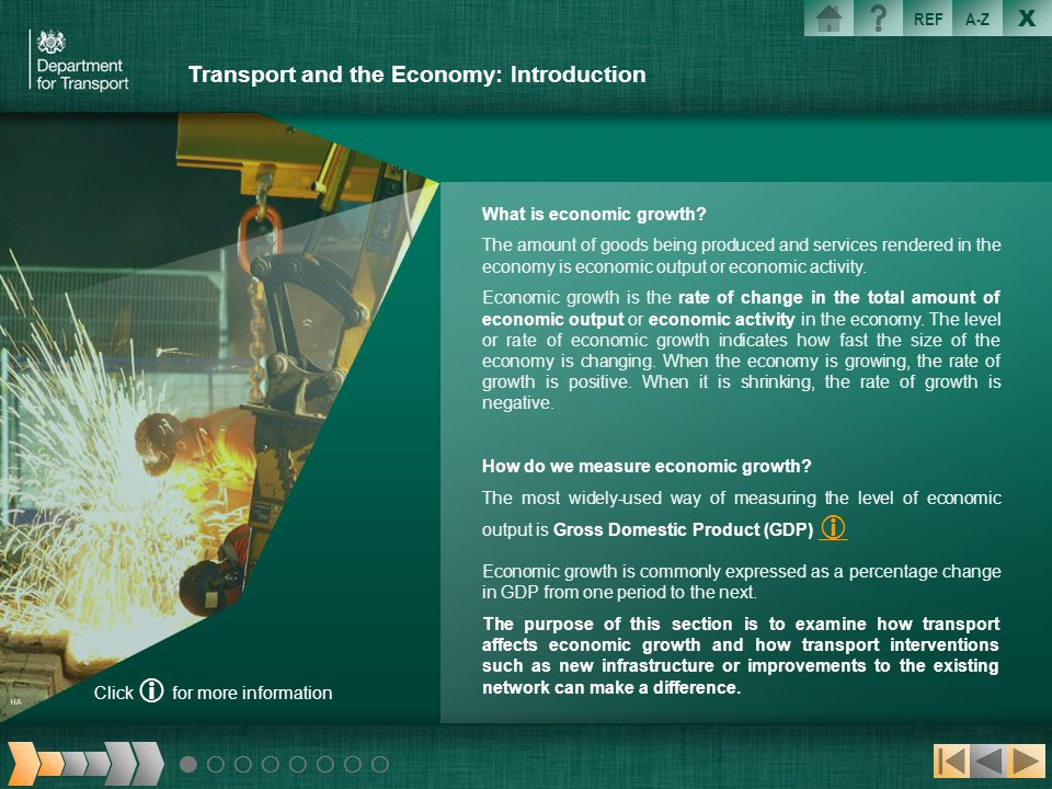 X REFA-Z Transport and the Economy: Introduction What is economic growth? The amount of goods being produced and services rendered in the economy is e
