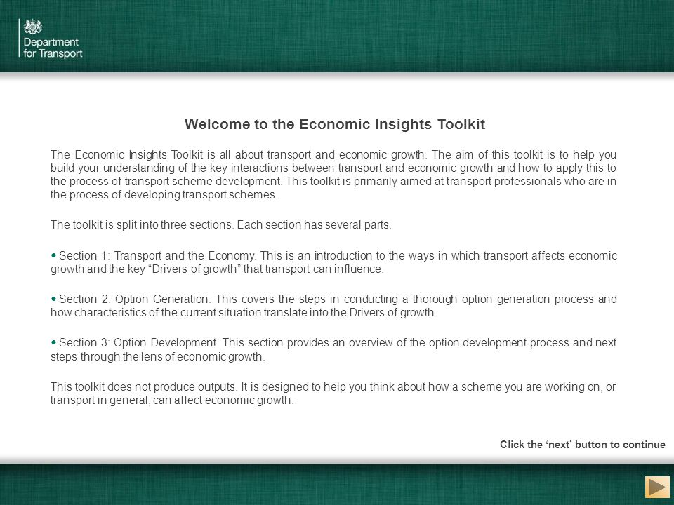 The Economic Insights Toolkit is all about transport and economic growth. The aim of this toolkit is to help you build your understanding of the key i