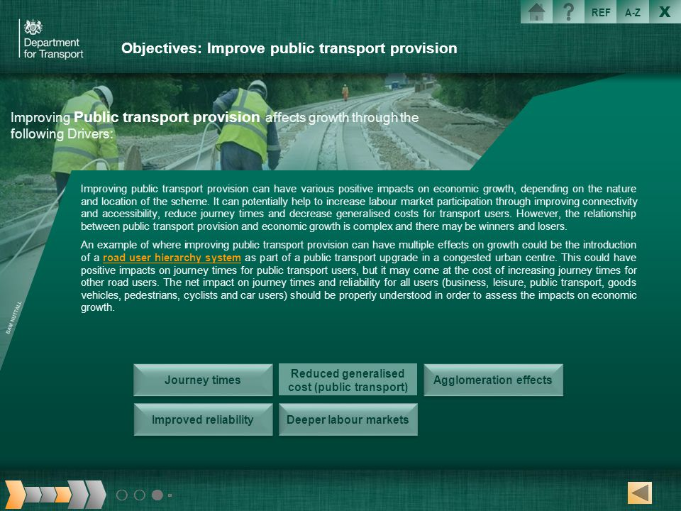 X REFA-Z Objectives: Improve public transport provision Improving Public transport provision affects growth through the following Drivers: Improving p