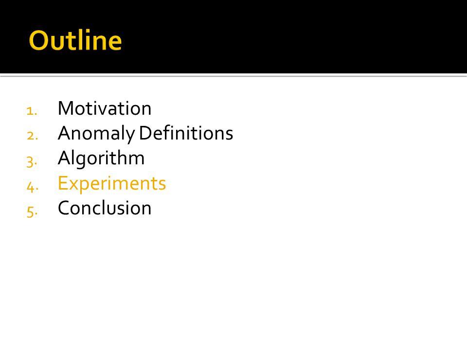 1. Motivation 2. Anomaly Definitions 3. Algorithm 4. Experiments 5. Conclusion