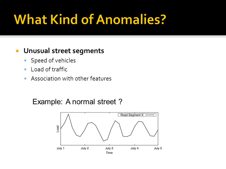 Unusual street segments Speed of vehicles Load of traffic Association with other features Example: A normal street ?