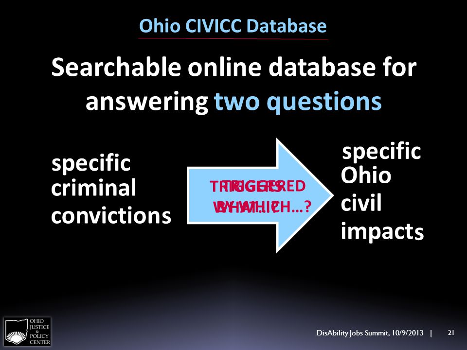 Ohio CIVICC Database criminal conviction s Ohio civil impact TRIGGERS WHAT….