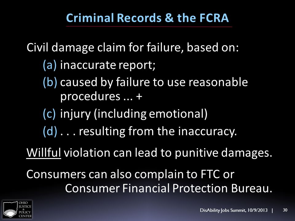 Civil damage claim for failure, based on: (a)inaccurate report; (b)caused by failure to use reasonable procedures... + (c)injury (including emotional)