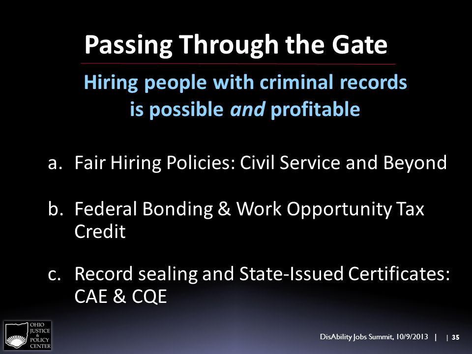 Passing Through the Gate Hiring people with criminal records is possible and profitable a.Fair Hiring Policies: Civil Service and Beyond b.Federal Bon