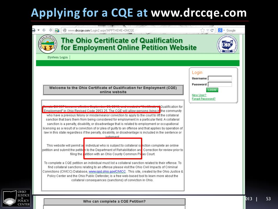 Applying for a CQE at www.drccqe.com DisAbility Jobs Summit, 10/9/2013   53