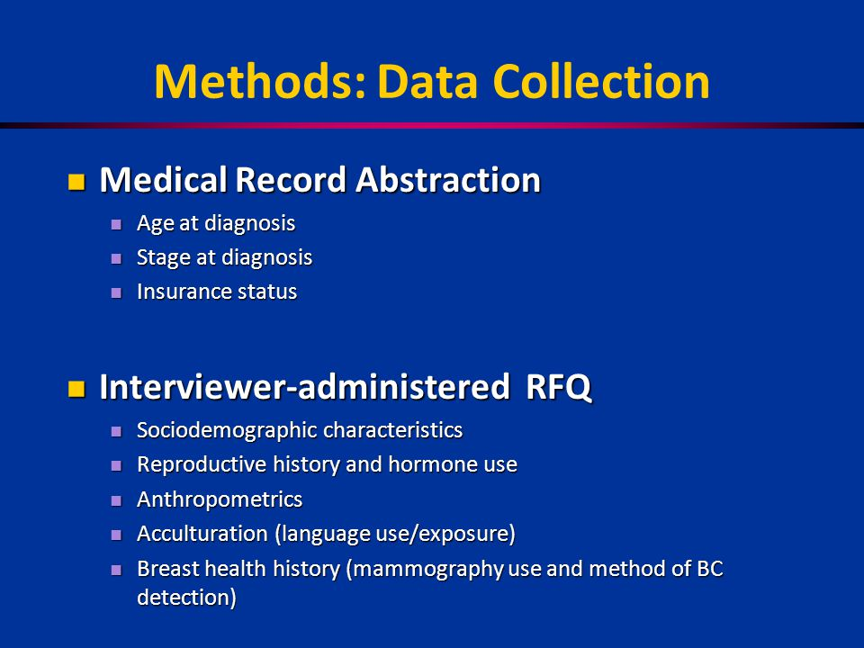 Methods: Data Collection Medical Record Abstraction Medical Record Abstraction Age at diagnosis Age at diagnosis Stage at diagnosis Stage at diagnosis Insurance status Insurance status Interviewer-administered RFQ Interviewer-administered RFQ Sociodemographic characteristics Sociodemographic characteristics Reproductive history and hormone use Reproductive history and hormone use Anthropometrics Anthropometrics Acculturation (language use/exposure) Acculturation (language use/exposure) Breast health history (mammography use and method of BC detection) Breast health history (mammography use and method of BC detection)